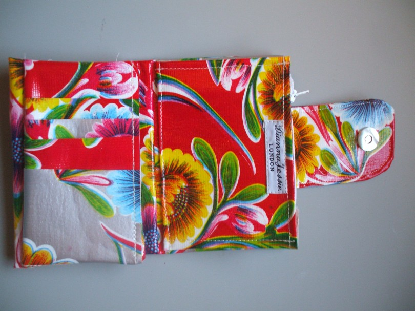 Red Bloom Mexican Oilcloth Wallet - three fold