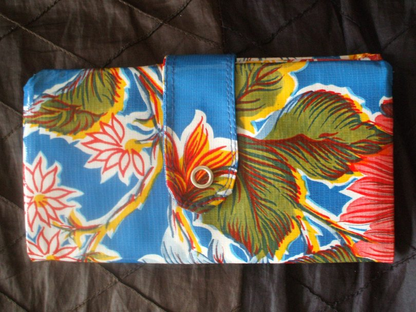 Blue Hibiscus Mexican oilcloth wallet