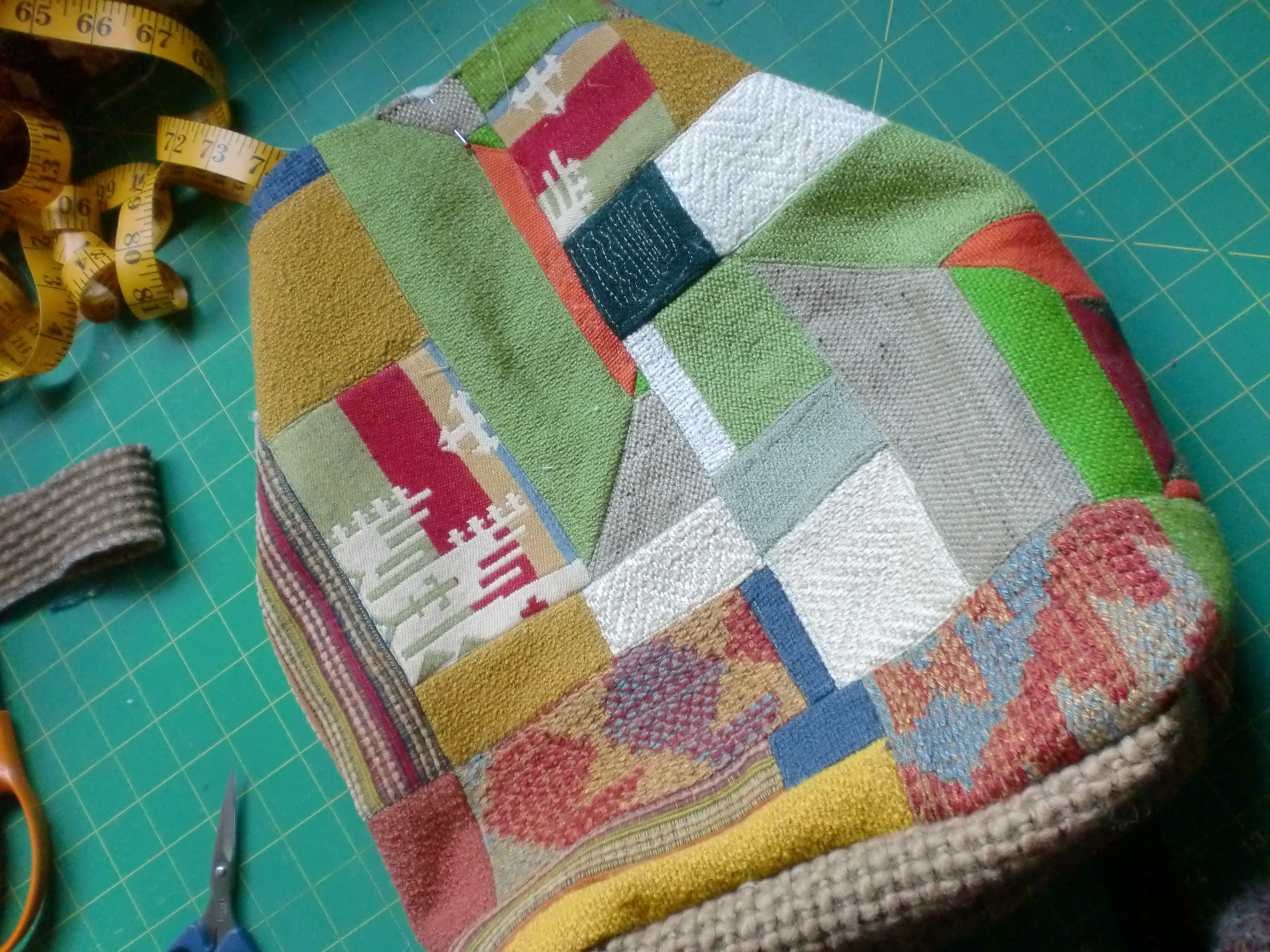 dimensional patchwork upholstery fabric taking shape